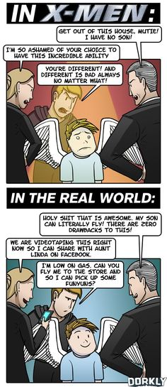 Dorkly Comic – Families that Have Mutant Kids: In The X-Men Universe vs. In The Real World [Comic]