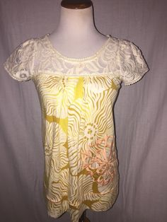 Ric Rac Anthropologie Lace Top Blouse S #Anthropologie #Blouse #Casual