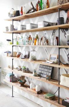 Simple, clean shelving using pipe and fittings