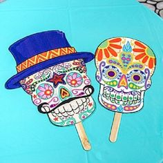 12 DAY OF THE DEAD SKULL FAN FACES * day of the dead theme party * halloween #Halloween