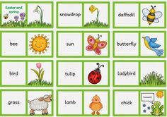 """Englisch in der Grundschule: Dominos zu """"Easter and spring"""" English Games, English Activities, Nursery Teacher, Easter Pillows, Easter Toys, Primary School Teacher, Different Holidays, English Classroom, Preschool Worksheets"""