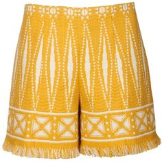Tory Burch Shorts ($115) ❤ liked on Polyvore featuring shorts, tweed shorts, graphic shorts, tribal shorts, tribal print shorts and tory burch shorts