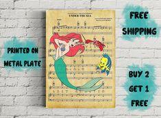 Disney Ariel Under The Sea Music Art Metal Print-Ariel and flounder Poster-Girl Gift-Disney Gifts-Nursery-Kids Decor-Disney Wall Art Ariel Under The Sea, Ariel And Flounder, Disney Wall Art, Princess Room, Kids Decor, Girl Gifts, Nursery, Metal, Music