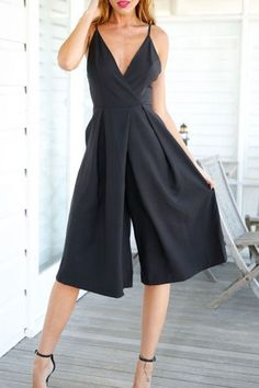 Deep V Neck Backless Solid Color Wide Leg Jumpsuit