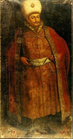 """Genç Osman 1618 - 1622. This is a full-length life-size portrait of the Turkish Sultan Osman II. The portrait was donated by two Lübeck merchants Adolph and Hinrich Cahl in 1640 as an entrance gift to the Brotherhood of Blackheads. The painting bears also the names and coat of arms of the donators. Text on the painting: """"SOLTAN HOTTOMANNUS, TURCARUM IMPERATOR""""."""