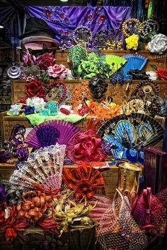 Flamenco fans in a shop in El Arenal, Seville, Andalusia, Spain by Zu Sanchez