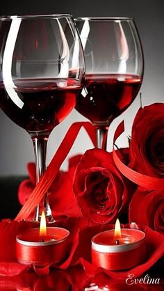 Wine Bottle Candles, Wine Goblets, Wine Glass, Glass Photography, Rose Candle, Beautiful Rose Flowers, Happy B Day, Red Roses, Wines