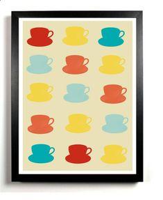Kitchen Art Print - Retro Modern Tea Cups Wall Decor - Printable Artwork -Digital File