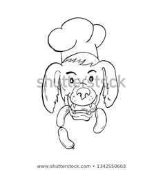 Cartoon style illustration of an Irish Setter dog wearing chef, baker or cook hat biting a sausage string viewed from front on isolated background in black and white. White Sausage, Irish Setter Dogs, Cartoon Styles, New Pictures, Royalty Free Photos, Beverage, Create Yourself, Snoopy, Hat