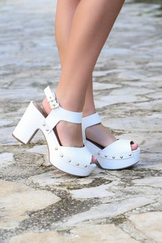 Caballo White Platform Heels