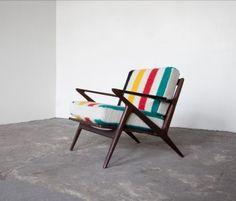 BLANKET CHAIR NO. 7  Poul Jensen for Selig Z Chair frame. Custom Hudson Bay blanket cushions.