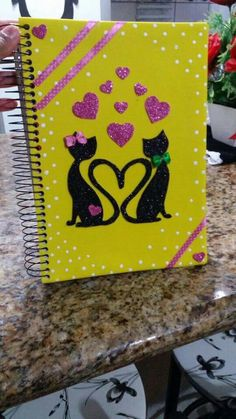File Decoration Ideas, Diary Decoration, Foam Crafts, Diy Arts And Crafts, Paper Crafts, Notebook Cover Design, Notebook Covers, Cute Cards, Diy Cards