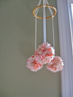Baby Girl Crib Mobile Nursery - Kimono Silk - 3 silk balls - ready to ship Girl Cribs, Baby Cribs, Nursery Inspiration, Nursery Ideas, Baby Crib Mobile, Girl Nursery, Nursery Crib, My Baby Girl, Baby Baby