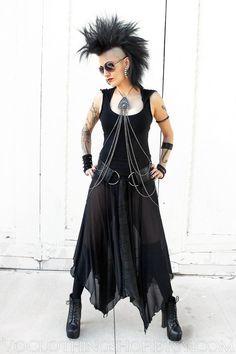 Sheer black long mesh skirt; $86.45Cdn; sizes XS-XXL; ships from USA; by VOclothingShop on Etsy.com