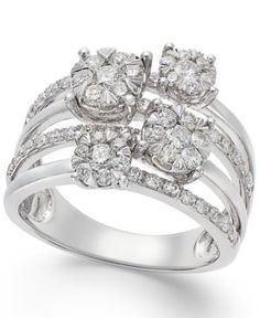 Effy Diamond (1-1/5 ct) 14k White Gold Ring - Gold