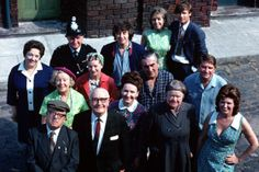 "1970's, Pictured outside the ""Rovers Return"" from the television series ""Coronation Street""."
