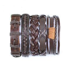 5 Piece Handmade Leather Bracelet Set Leather and Hemp Friendship Braclet USA Seller Item # BST-427