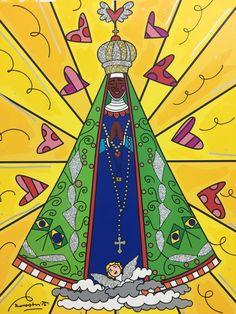 Romero Britto pinta quadro para homenagear a padroeira. (Foto: Reprodução/Romero Britto) Angel's Feather, Bible Stories For Kids, Holy Mary, Catholic School, Blessed Virgin Mary, Holy Family, Psychedelic Art, Folk Art, Clip Art