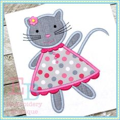 cat dress applique design to be used for machine embroidery