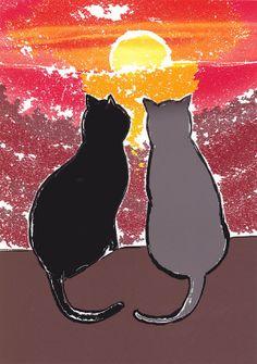 Sunset Cats - Decorative Colorful Cat Art Print