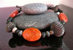 Bold Chunky Bangle Red Sponge Coral Bracelet Red by MsBsDesigns, $28.00