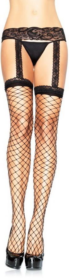 Sexy Lingerie Red or Black Fence Net Lace Top Stockings with Attached GarterBelt