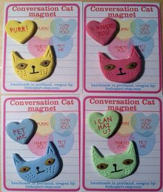 Conversation Cat magnet set by bishopart on Etsy, $7.00