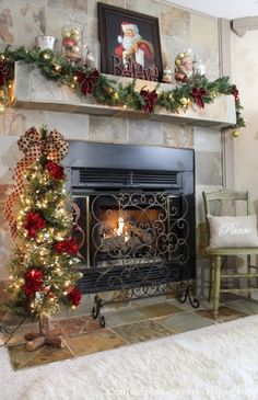 Gorgeous Christmas Mantel from Confessions of a Serial Do-It-Yourselfer.I like the Christmas tree! Christmas Mantels, Primitive Christmas, Christmas Love, Country Christmas, Beautiful Christmas, Winter Christmas, All Things Christmas, Christmas Crafts, Christmas Decorations