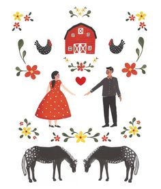 Art Print Americana Folk Art Red Barn Illustration by JadeFisher on Etsy