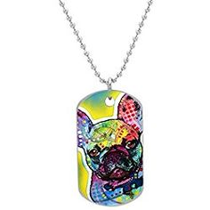 Boyden Park Fashion - French Bulldog Printed Custom Oval Dog Tag,ID Pet tag Pendant Necklace Chain Visit our website for more cute stuff for french bulldog lovers!