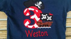 Pirate With Ship Bandana Patch Birthday Shirt With Name Number by fabuellaboutique. Explore more products on http://fabuellaboutique.etsy.com
