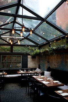 practically eating outside- could be at home or for restaurant design dining rooms, interior, west village, glass, patio, greenhous, place, light, restaurants