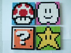 LEGO Mario Sprite Mosaics : 4 Steps (with Pictures) - Instructables Lego Mario, Lego Design, Perler Patterns, Mosaic Patterns, Bead Patterns, Legos, Mosaics For Kids, Lego Challenge, Lego Wall