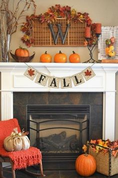 Unusual Fall Home Decor Ideas For Mantel Festive fall mantel décor can really turn your house into a home. Whether you're in the mood for classic and timeless fall mantel ideas or something more chic and modern Decoration Inspiration, Decor Ideas, Diy Ideas, Autumn Decorating, Decorating Ideas, Mantle Decorating, Interior Decorating, Fall Mantel Decorations, Mantel Ideas