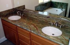 Rainforest Green Granite (Serpentinite) Bathroom Countertop