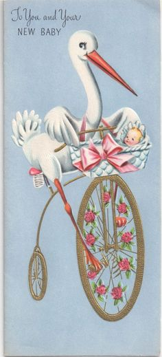 Vintage New Baby Card by A Sunshine Card - Embossed Stork and Baby on Bicycle  picclick.com Images Vintage, Vintage Cards, Vintage Paper, Vintage Postcards, Old Greeting Cards, Old Cards, Decoupage, Images Victoriennes, Baby Images