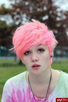 Punky pink hair. Reminds me of Aeilita from code lyoko