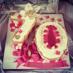 Ladies 70th number birthday cake