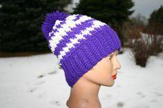 Purple/White Pom Crochet Slouch Hat  Unisex Slouch by OneInEssence, $12.00
