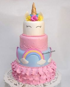 Birthday cake unicorn fun new Ideas Pretty Cakes, Cute Cakes, Beautiful Cakes, Amazing Cakes, Unicorn Birthday Parties, Unicorn Party, Birthday Cake, Unicorn Cakes, Dessert