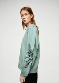 Ruffled sleeves sweatshirt - Women | MANGO USA