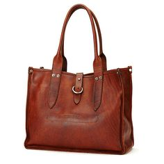 Frye Amy Shopper Tote ($448) ❤ liked on Polyvore featuring bags, handbags, tote bags, frye handbags, brown tote, shopper tote handbags, frye purse and shopper purses