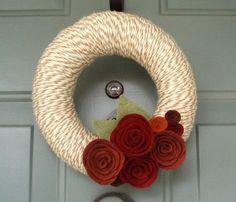 Yarn Wreath Felt Handmade Door Decoration - Lovely 8in. $35.00, via Etsy.
