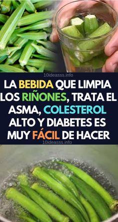 Esta poderosa bebida te ayudara a limpiar los riñones eliminar el colesterol, asma y diabetes de forma natural. #natural #salud #batidos #bajo #grasa Diabetes, Celery, Pickles, Green Beans, Cucumber, Vegetables, Healthy, Tips, Food