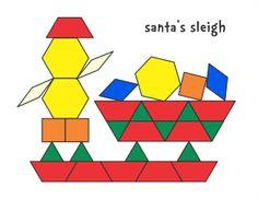 Jessica's Pattern Block Mats (Printables) - Santa's Sleigh Christmas Holiday Design