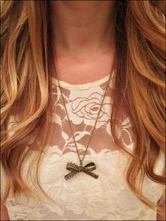 Bronze Lace Bow Necklace - elladolce on etsy