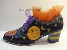 WHICH WITCH SHOE©. Originally designed hand painted shoe. What a great decorating piece this could be for the Halloween Season! Can be found in my Etsy Shop/TheSunflowerCupboard, $21.95+$7 shipping. SOLD