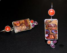 Colorful boulder opals with sponge coral and jade by www.myfascinationstreet.etsy.com