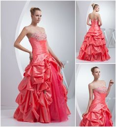 Special Coral Colored Taffeta Strapless Wedding Dress Ballgown
