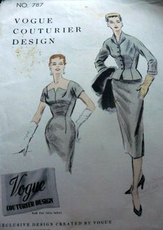 LOVELY VTG 1950s DRESS & JACKET VOGUE COUTURIER Sewing Pattern 18/36